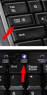 Включен Caps Lock