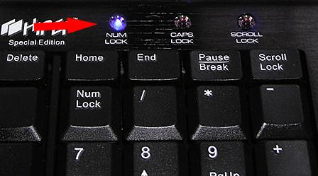 Не включен Num Lock
